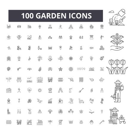 Illustration pour Garden editable line icons, 100 vector set on white background. Garden black outline illustrations, signs, symbols - image libre de droit