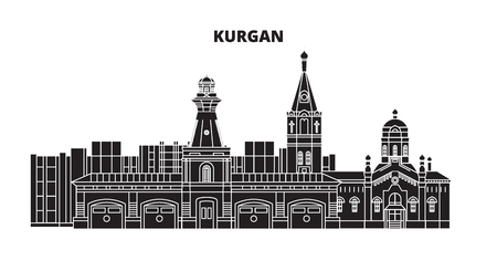 Illustration for Russia, Kurgan. City skyline: architecture, buildings, streets, silhouette, landscape, panorama. Flat line vector illustration. Russia, Kurgan outline design. - Royalty Free Image