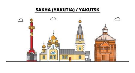 Russia, Sakha Yakutia , Yakutsk. City skyline: architecture, buildings, streets, silhouette, landscape, panorama. Flat line vector illustration. Russia, Sakha Yakutia , Yakutsk outline design.