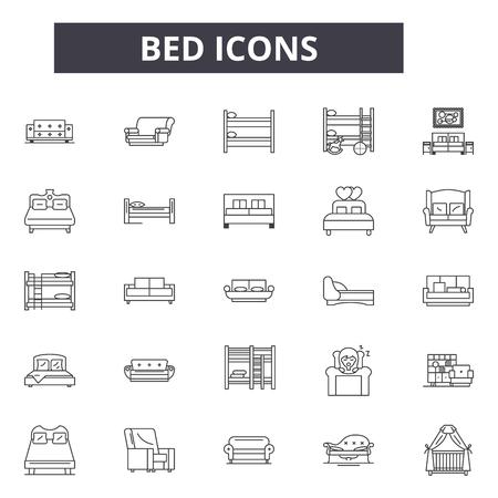 Illustration pour Bed line icons for web and mobile. Editable stroke signs. Bed  outline concept illustrations - image libre de droit