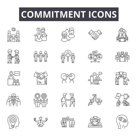 Illustration pour Commitment line icons for web and mobile. Editable stroke signs. Commitment  outline concept illustrations - image libre de droit