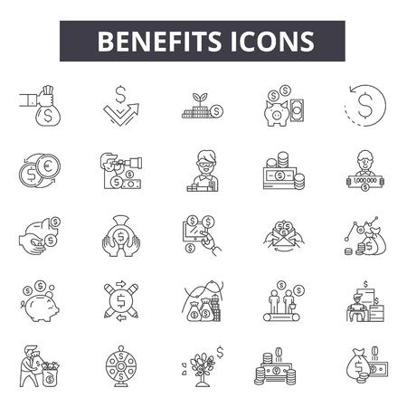 Illustration pour Benefits line icons for web and mobile. Editable stroke signs. Benefits  outline concept illustrations - image libre de droit