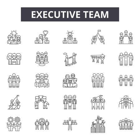 Illustration pour Executive team line icons for web and mobile. Editable stroke signs. Executive team  outline concept illustrations - image libre de droit