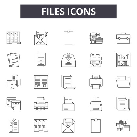 Files line icons for web and mobile. Editable stroke signs. Files  outline concept illustrations