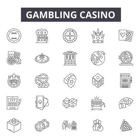 Illustration pour Gambling casino line icons for web and mobile. Editable stroke signs. Gambling casino  outline concept illustrations - image libre de droit