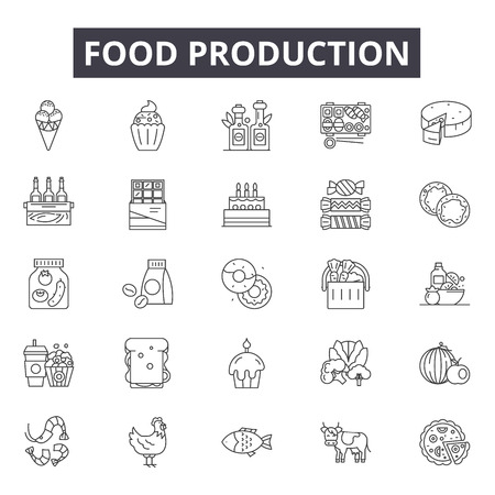 Food production line icons for web and mobile. Editable stroke signs. Food production  outline concept illustrations