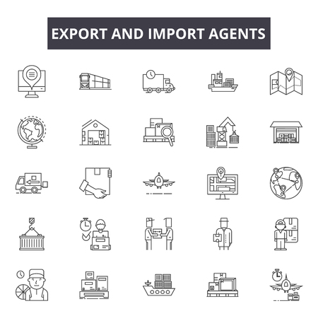 Ilustración de Export and import agents line icons for web and mobile. Editable stroke signs. Export and import agents  outline concept illustrations - Imagen libre de derechos