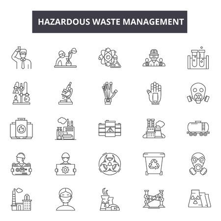 Illustration pour Hazardous waste management line icons for web and mobile. Editable stroke signs. Hazardous waste management  outline concept illustrations - image libre de droit