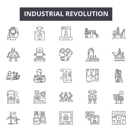 Illustration pour Industrial revolution line icons for web and mobile. Editable stroke signs. Industrial revolution  outline concept illustrations - image libre de droit