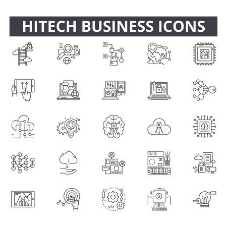 Illustration pour Hitech business line icons for web and mobile. Editable stroke signs. Hitech business  outline concept illustrations - image libre de droit