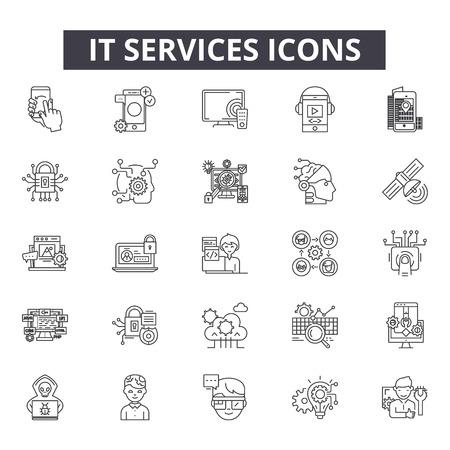 Ilustración de It services line icons for web and mobile. Editable stroke signs. It services  outline concept illustrations - Imagen libre de derechos