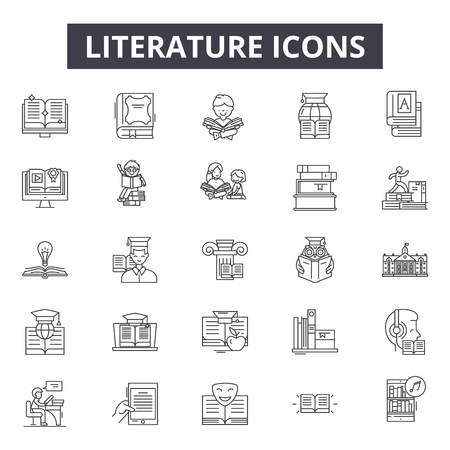 Illustration pour Literature line icons for web and mobile. Editable stroke signs. Literature  outline concept illustrations - image libre de droit