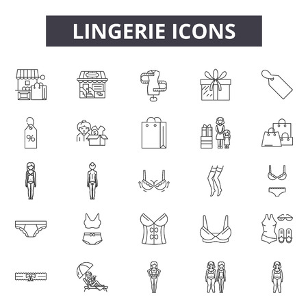 Lingerie line icons for web and mobile. Editable stroke signs. Lingerie  outline concept illustrations