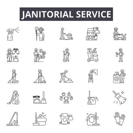Illustration for Janitorial service line icons for web and mobile. Editable stroke signs. Janitorial service  outline concept illustrations - Royalty Free Image