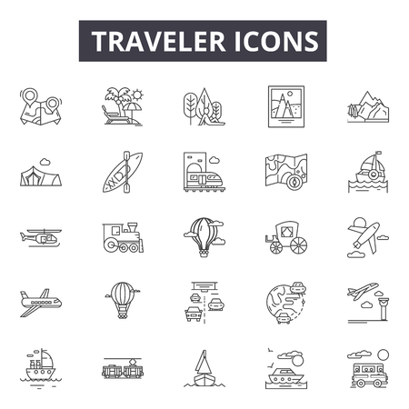 Ilustración de Traveler line icons for web and mobile. Editable stroke signs. Traveler  outline concept illustrations - Imagen libre de derechos
