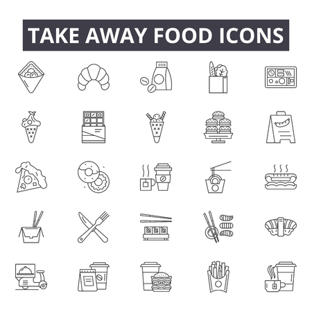 Illustration pour Take away food line icons for web and mobile. Editable stroke signs. Take away food  outline concept illustrations - image libre de droit