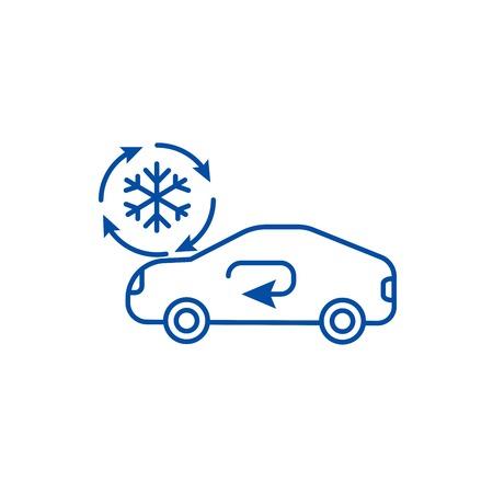 Ilustración de Air conditioning, car service line concept icon. Air conditioning, car service flat  vector website sign, outline symbol, illustration. - Imagen libre de derechos
