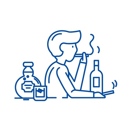 Illustrazione per Bad habits line concept icon. Bad habits flat  vector website sign, outline symbol, illustration. - Immagini Royalty Free