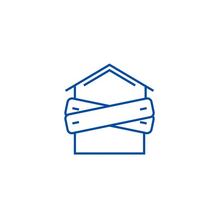 Illustration pour Bankruptcy,boarded up house line concept icon. Bankruptcy,boarded up house flat  vector website sign, outline symbol, illustration. - image libre de droit