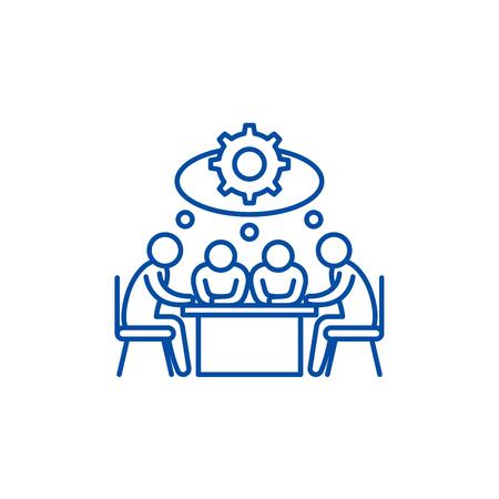 Ilustración de Brainstorming line concept icon. Brainstorming flat  vector website sign, outline symbol, illustration. - Imagen libre de derechos