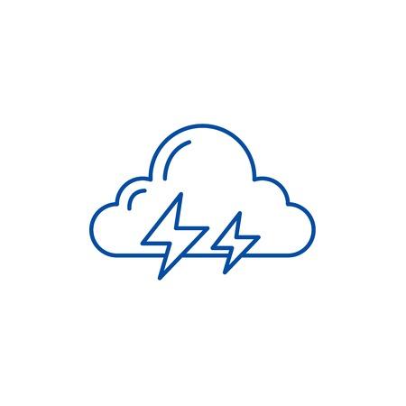 Thunderstorm line concept icon. Thunderstorm flat vector website sign, outline symbol, illustration.