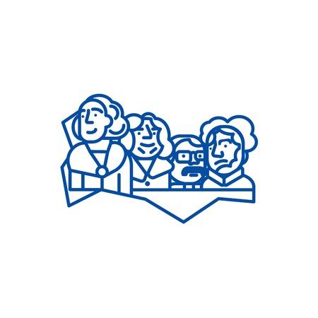 Illustration pour Usa presidents,mount rushmore line concept icon. Usa presidents,mount rushmore flat  vector website sign, outline symbol, illustration. - image libre de droit