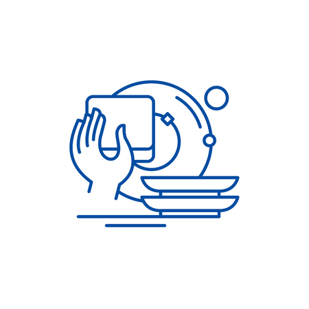 Illustration for Washing dishes line concept icon. Washing dishes flat  vector website sign, outline symbol, illustration. - Royalty Free Image
