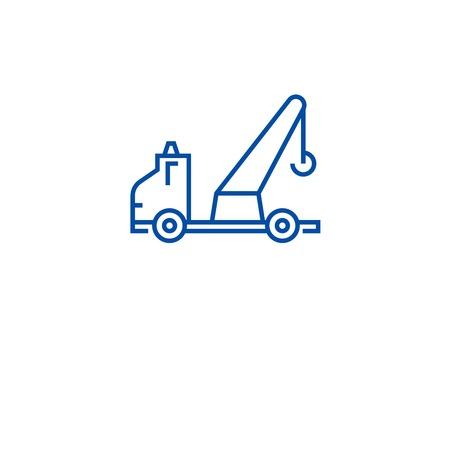 Illustration pour Wrecker truck line concept icon. Wrecker truck flat  vector website sign, outline symbol, illustration. - image libre de droit