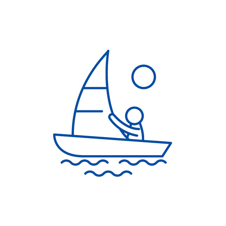 Illustration pour Yachting line concept icon. Yachting flat  vector website sign, outline symbol, illustration. - image libre de droit