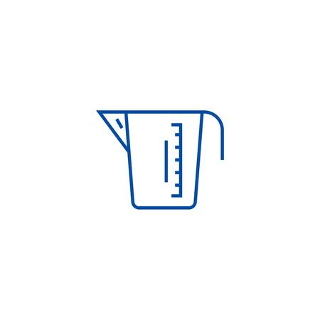 Illustration for Measuring cup line concept icon. Measuring cup flat  vector website sign, outline symbol, illustration. - Royalty Free Image
