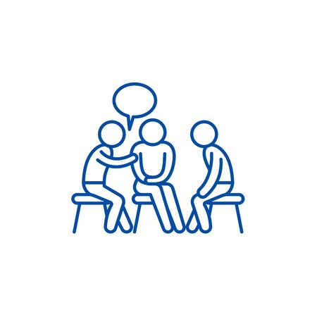 Illustration pour Mentorship line concept icon. Mentorship flat  vector website sign, outline symbol, illustration. - image libre de droit