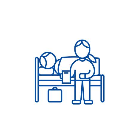 Nursery doctor with patient in hospital line concept icon. Nursery doctor with patient in hospital flat vector website sign, outline symbol, illustration.
