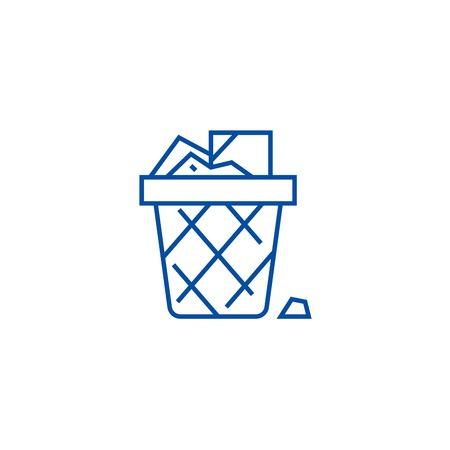 Illustration pour Paper bin,office garbage line concept icon. Paper bin,office garbage flat  vector website sign, outline symbol, illustration. - image libre de droit