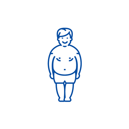 Fatty man,fat guy line concept icon. Fatty man,fat guy flat  vector website sign, outline symbol, illustration.