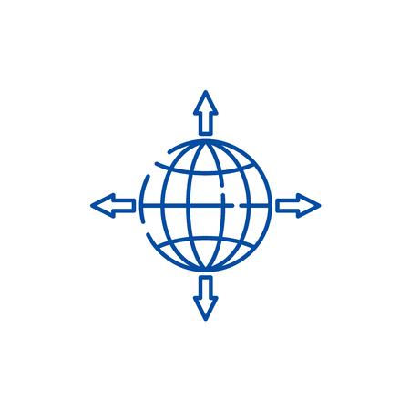Global sales channels line concept icon. Global sales channels flat vector website sign, outline symbol, illustration.