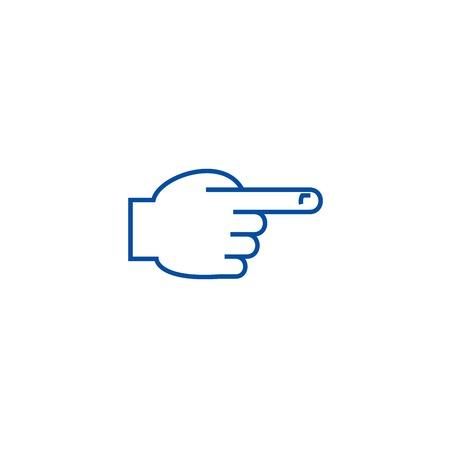 Illustration pour Hand with pointing finger front line concept icon. Hand with pointing finger front flat  vector website sign, outline symbol, illustration. - image libre de droit