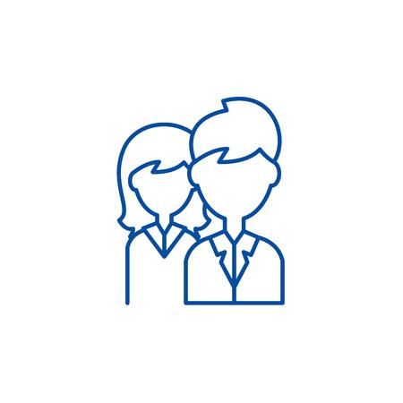 Illustration pour Company staff line concept icon. Company staff flat  vector website sign, outline symbol, illustration. - image libre de droit