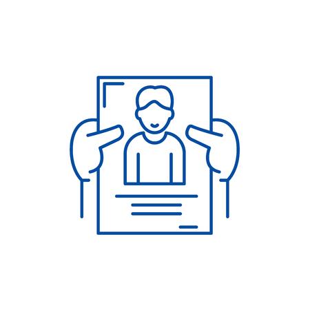 Personnel management line concept icon. Personnel management flat vector website sign, outline symbol, illustration.