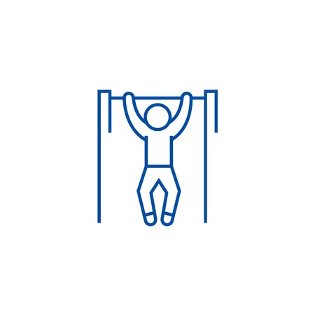 Pull up, workout, street exercise line concept icon. Pull up, workout, street exercise flat vector website sign, outline symbol, illustration.
