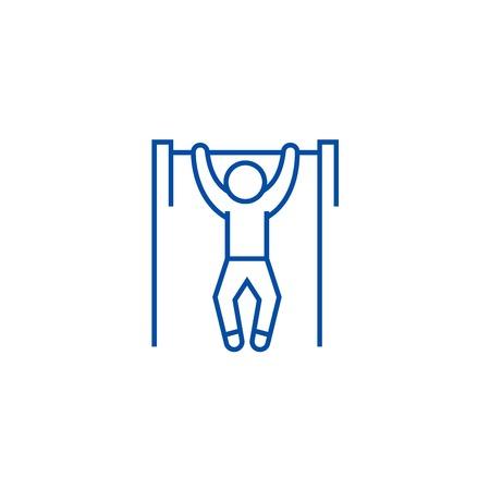 Pull up, workout, street exercise line concept icon. Pull up, workout, street exercise flat vector website sign, outline symbol, illustration.