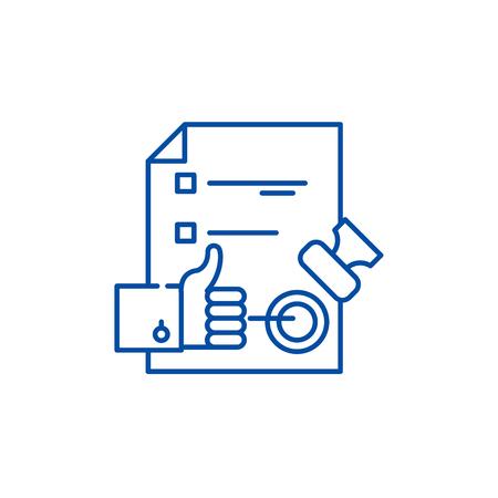 Illustration pour Quality control system line concept icon. Quality control system flat  vector website sign, outline symbol, illustration. - image libre de droit