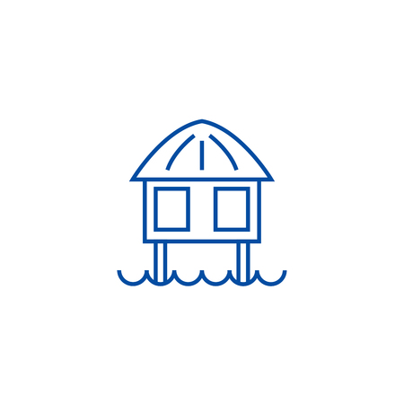 Illustration pour Stilt house line concept icon. Stilt house flat  vector website sign, outline symbol, illustration. - image libre de droit