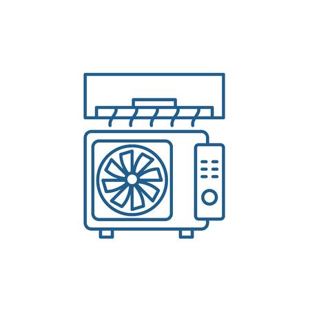 Ilustración de Air conditioning line concept icon. Air conditioning flat  vector website sign, outline symbol, illustration. - Imagen libre de derechos