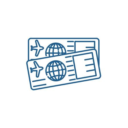 Illustration for Airplane tickets line concept icon. Airplane tickets flat  vector website sign, outline symbol, illustration. - Royalty Free Image