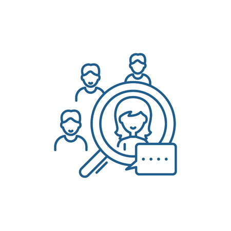 Illustration pour Candidate selection line concept icon. Candidate selection flat  vector website sign, outline symbol, illustration. - image libre de droit