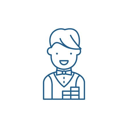Croupier line concept icon. Croupier flat  vector website sign, outline symbol, illustration.