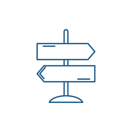 Illustration pour Direction of travel line concept icon. Direction of travel flat  vector website sign, outline symbol, illustration. - image libre de droit