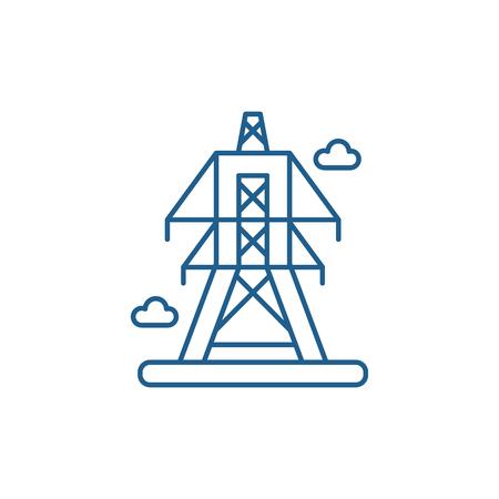 Ilustración de Electric lines line concept icon. Electric lines flat  vector website sign, outline symbol, illustration. - Imagen libre de derechos