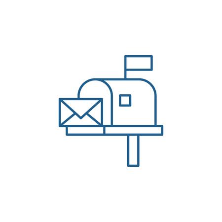 Ilustración de Mailbox line concept icon. Mailbox flat  vector website sign, outline symbol, illustration. - Imagen libre de derechos