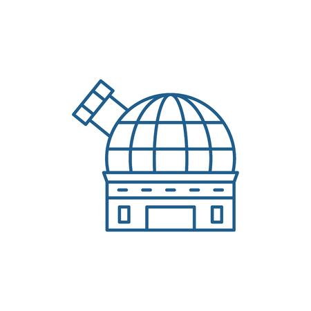 Observatory line concept icon. Observatory flat  vector website sign, outline symbol, illustration.